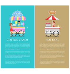 Hot dog and cotton candy stands colorful icons vector