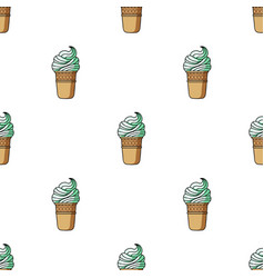 Ice cream in waffle cup icon in cartoon style vector