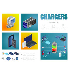 isometric chargers infographic template vector image