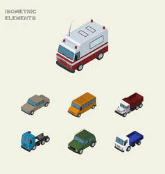 Isometric transport set of lorry autobus freight vector