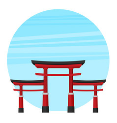 japanese torii gate national symbol traditional vector image