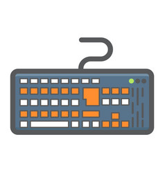 keyboard colorful line icon button and device vector image
