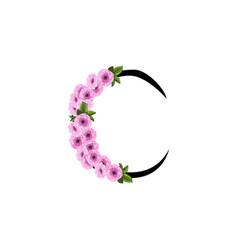 Letter c floral ornament vector