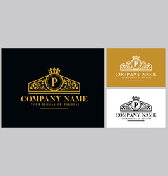 Letter p logo design luxury gold vector