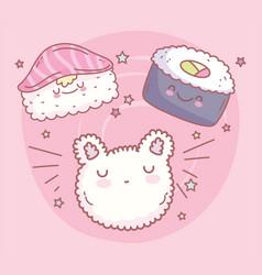 Maki sushi salmon rice cat face cartoon food cute vector