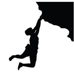 Man silhouette on cliff vector