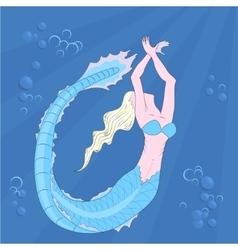 Mermaid swimming in the depths vector