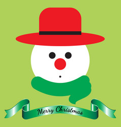 Merry christmas - snowman and ribbon vector