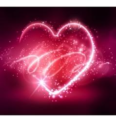 Neon heart on the dark vector