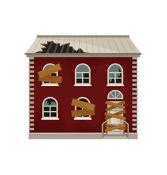 Old red house with broken roof and boarded up vector
