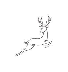 one continuous line drawing wild reindeer vector image