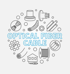 optical fiber cable circular outline vector image