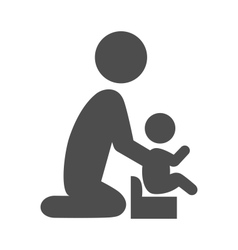 Parent potty baby pictogram flat icon isolated on vector
