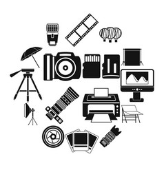 photo studio icons set simple style vector image