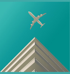 Plane in clouds house 2 vector