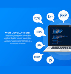 programming web development concept code on the vector image