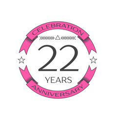 Realistic twenty two years anniversary celebration vector