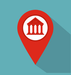 Red map pin icon with bank icon flat style vector