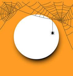 Round halloween card with spiderweb vector