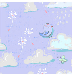 Seamless pattern with cute clouds with bird and vector