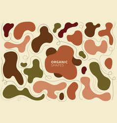 Set abstract organic shapes earth tone colors vector