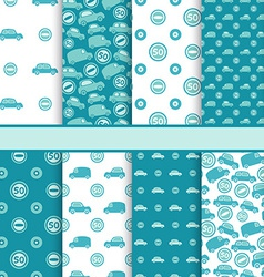 set seamless toy cars patterns - pattern vector image