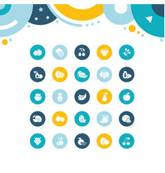set simple icons fruits vector image