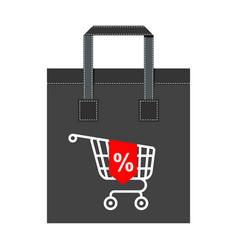 shopping bag big cart vector image