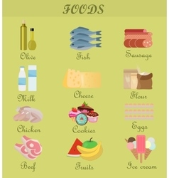 Shopping product foods Flat decorative icons set vector image
