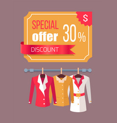 Special offer label discount tag 30 with jackets vector