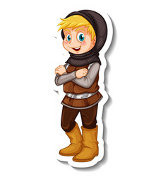 Sticker template with a boy in soldier costume vector