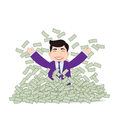 Successful Business Man Mountain Money vector image