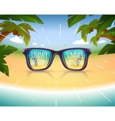 Sunglasses on summer sea coast with palms vector image
