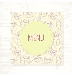 Tea room menu template with tea service in vector