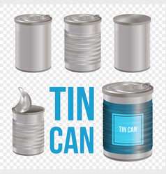 Tin can line style art set transparent background vector