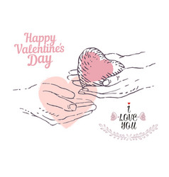 Valentine concept a pair of hands holds a heart vector