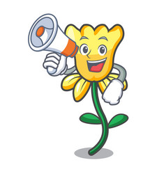 With megaphone daffodil flower character cartoon vector