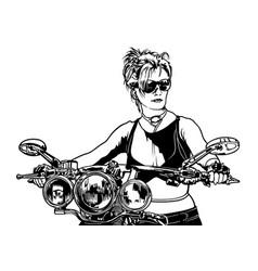 Woman motorcyclist vector