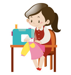 Woman sewing clothes with machine vector