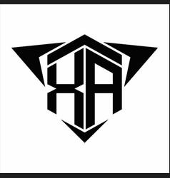 Xa logo monogram with wings arrow around design vector