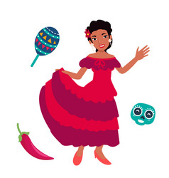 Young mexican women dancing with traditional vector