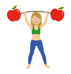 young woman exercising dumbbell bar with apples vector image