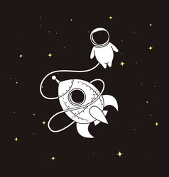 little astronaut with rocket in space vector image