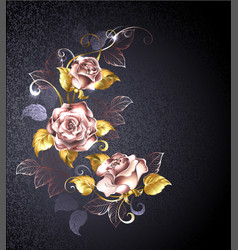 three roses in pink gold vector image vector image