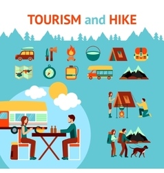 Tourism And Hike Infographics vector image vector image