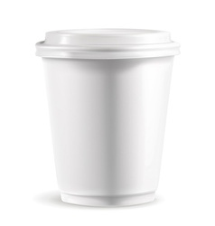 White paper cup with lid detailed vector image vector image