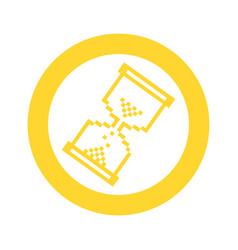 yellow blue symbol pixel hourglass cursor icon vector image