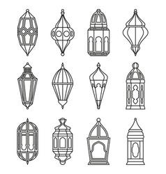 arabic or islamic lanterns set vector image