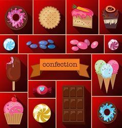 Beautiful images of a variety of sweets vector image