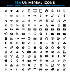 Big set of 154 universal black flat icons vector image vector image